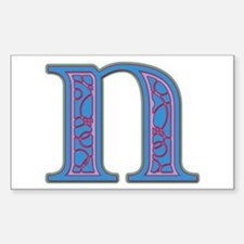 N Blue Glass Rectangle Decal