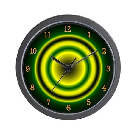 Zoning Out Green, Yellow and Black Wall Clock
