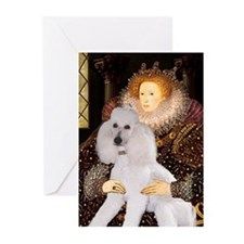 Queen's White Standard Poodle Greeting Cards (Pk o