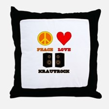 Peace Love Krautrock Throw Pillow