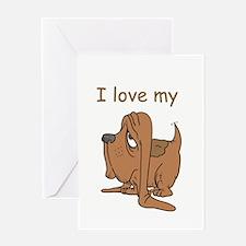 I love my cute Basset Hound Greeting Card