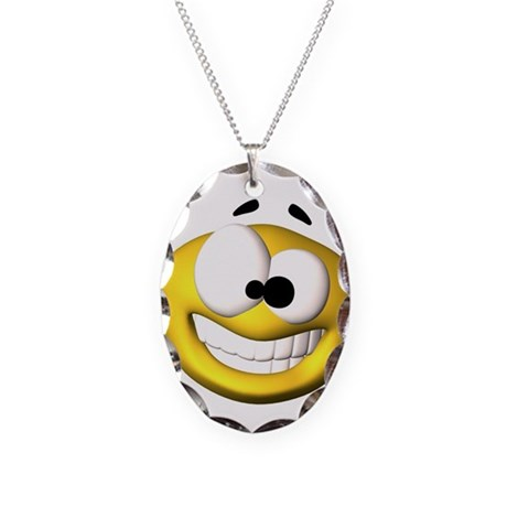 Goofy Happy Face Necklace Oval Charm