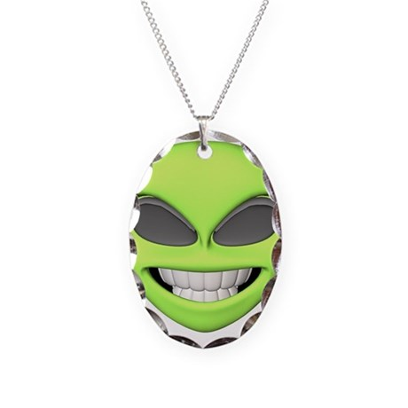 Cheesy Smile Alien Face Necklace Oval Charm