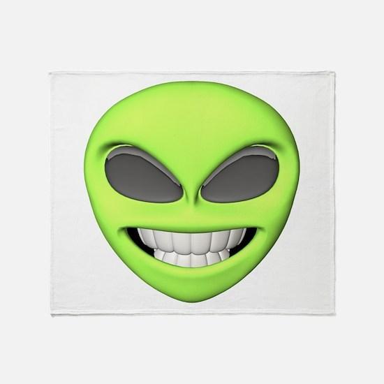 Cheesy Smile Alien Face Throw Blanket