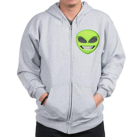 Cheesy Smile Alien Face Zip Hoodie
