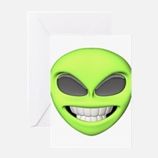Cheesy Smile Alien Face Greeting Card