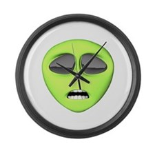 Scared Alien Face Large Wall Clock