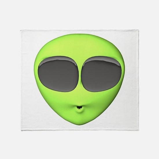 Big Eyed Alien Face Throw Blanket