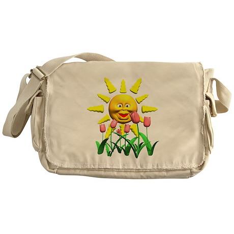 Happy Sun and Tulips Messenger Bag