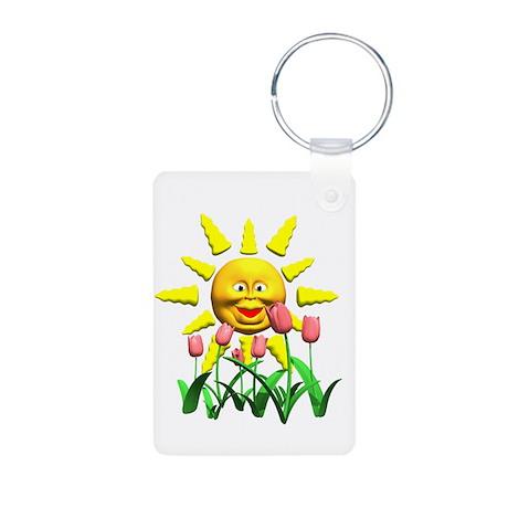 Happy Sun and Tulips Aluminum Photo Keychain