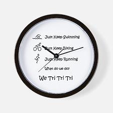 Just Keep Tri-ing Wall Clock