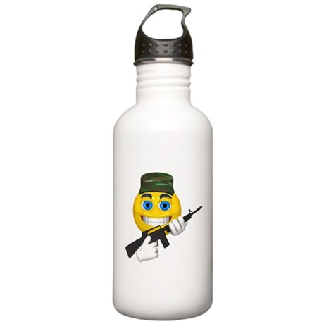 Smiling Soldier and Gun Stainless Water Bottle 1.0