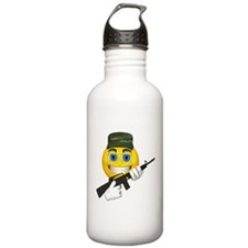 Smiling Soldier and Gun Water Bottle