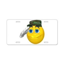 Saluting Soldier Face Aluminum License Plate