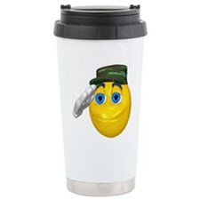 Saluting Soldier Face Travel Coffee Mug