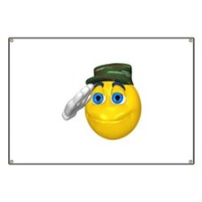 Saluting Soldier Face Banner