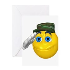 Saluting Soldier Face Greeting Card