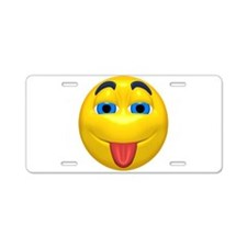 Cute Tongue Out Face Aluminum License Plate
