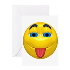 Cute Tongue Out Face Greeting Card