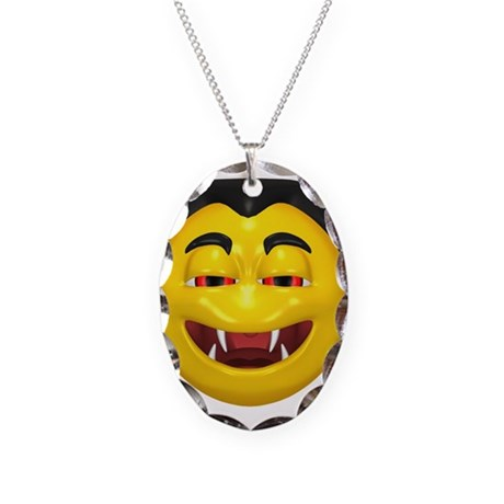 Laughing Vampire Face Necklace Oval Charm