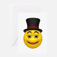 Top Hat Happy Face Greeting Card