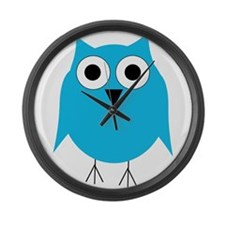 Light Blue Owl Large Wall Clock