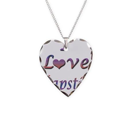 I Love Chapstick Necklace Heart Charm