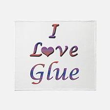 I Love Glue Throw Blanket