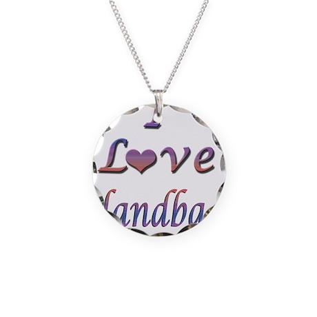 I Love Handbags Necklace Circle Charm