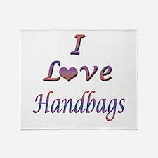 I Love Handbags Throw Blanket
