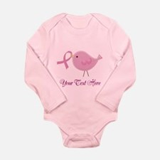Personalized Pink Cancer Bird Long Sleeve Infant B