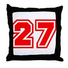 Varsity Uniform Number 27 (Red) Throw Pillow