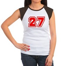 Varsity Uniform Number 27 (Red) Women's Cap Sleeve