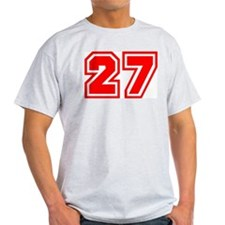 Varsity Uniform Number 27 (Red) Ash Grey T-Shirt