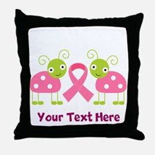 Personalized Breast Cancer Ladybug Throw Pillow