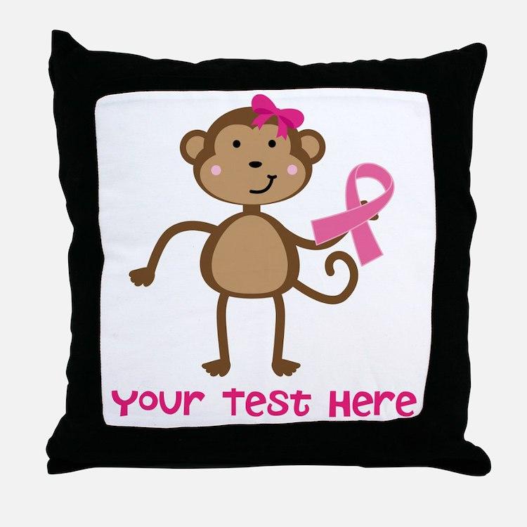 Custom Breast Cancer Monkey Throw Pillow