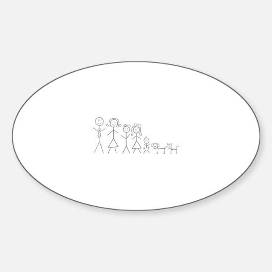 Unique Stick figure family Sticker (Oval)