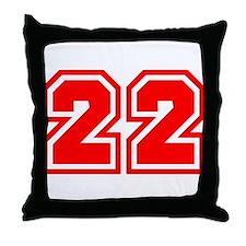 Varsity Uniform Number 22 (Red) Throw Pillow