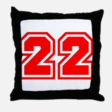 Varsity Uniform Number 22 (Red) Throw Pillow