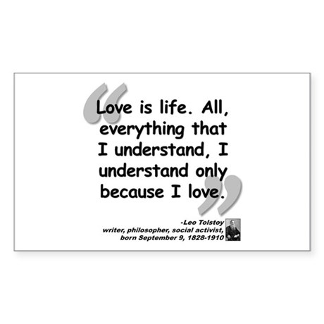 Tolstoy Love Quote Sticker (Rectangle)