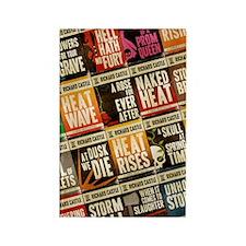 Castle Retro Novel Covers Collage Rectangle Magnet
