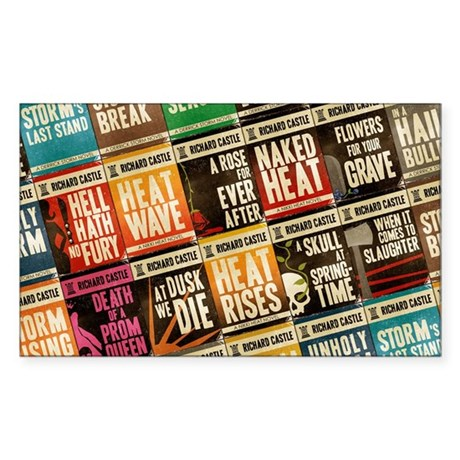 Castle Retro Novel Covers Collage Sticker (Rectang
