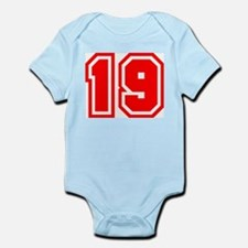 Varsity Uniform Number 19 (Red) Infant Creeper