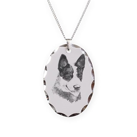 Necklace Oval Charm, cattle dog