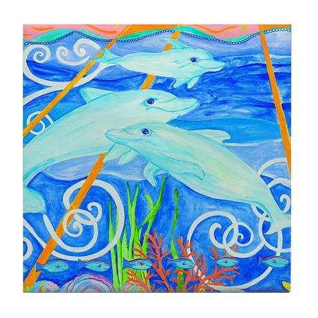 Dolphin Family Tile Coaster