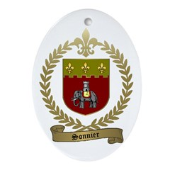 SONNIER Family Crest Ornament (Oval)