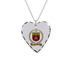 SONNIER Family Crest Necklace Heart Charm