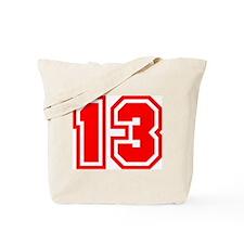 Varsity Uniform Number 13 (Red) Tote Bag