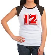 Varsity Uniform Number 12 (Red) Women's Cap Sleeve