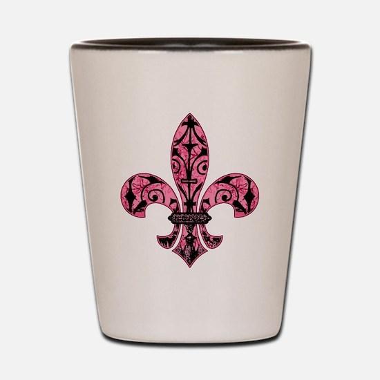 Pink Grunge Fleur Shot Glass